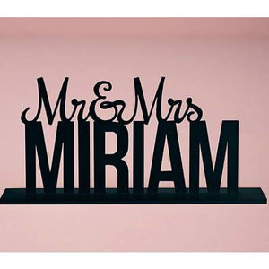 Personalized Mr. And Mrs. Black Acrylic Cake Topper - Cake Topper