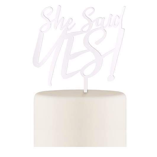 She Said Yes! Acrylic Cake Topper - White - Cake Topper