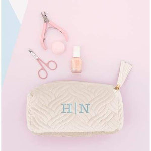 Small Personalized Velvet Quilted Makeup Bag For Women- Ivory Beige-NO MONOGRAM - Cosmetic Bag