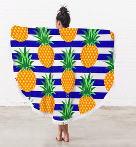 Personalized Round Beach Towel - Pineapple