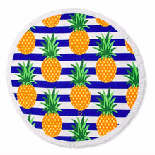 Load image into Gallery viewer, Personalized Round Beach Towel - Pineapple