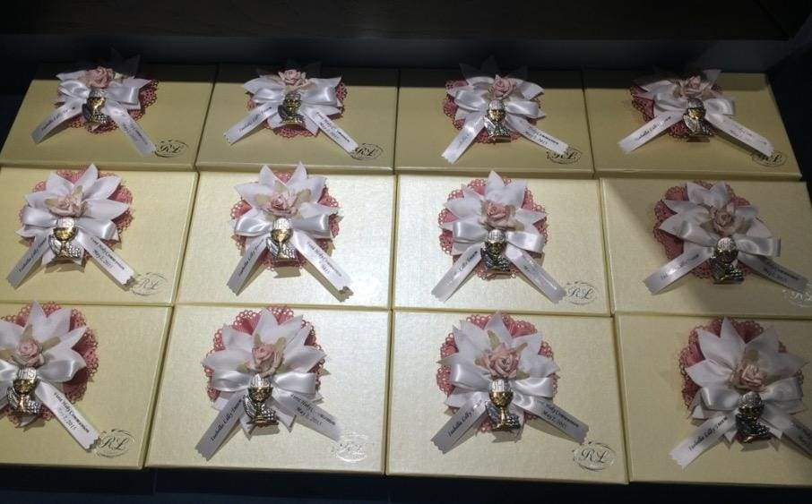 Communion favors with Italian Bomboniera with 5 Jordan Almonds and Name ribbon