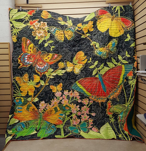 Colorful Butterflies and Flowers- Premium Blanket (NQC80)