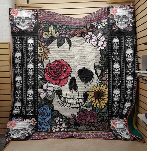Flowers and Skulls- Premium Blanket (NQC90)