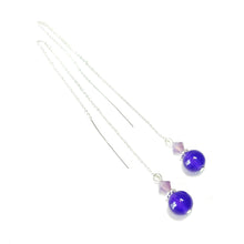 Load image into Gallery viewer, Purple Quartz Gemstone & Crystal Sterling Silver Long Drop Chain Ear Threads - 174mm