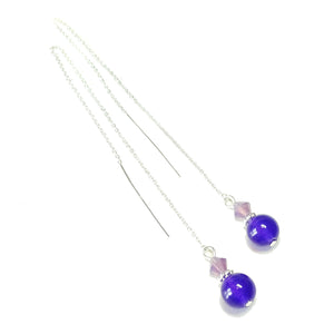 Purple Quartz Gemstone & Crystal Sterling Silver Long Drop Chain Ear Threads - 174mm