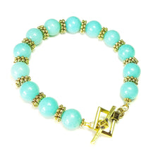 Load image into Gallery viewer, Aqua Blue Jade Gemstone & Antique Gold-Tone Bracelet 21cm