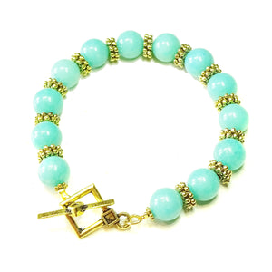 Aqua Blue Jade Gemstone & Antique Gold-Tone Bracelet 21cm