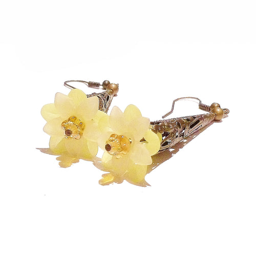 Yellow Long Antique Brass Lucite Lily Flower Drop Earrings