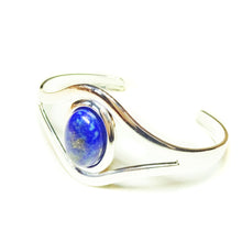 Load image into Gallery viewer, Blue Lapis Lazuli Classic Gemstone Silver Plated Bangle