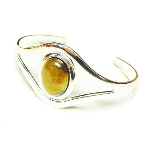 Brown Tiger's Eye Classic Gemstone Silver Plated Bangle