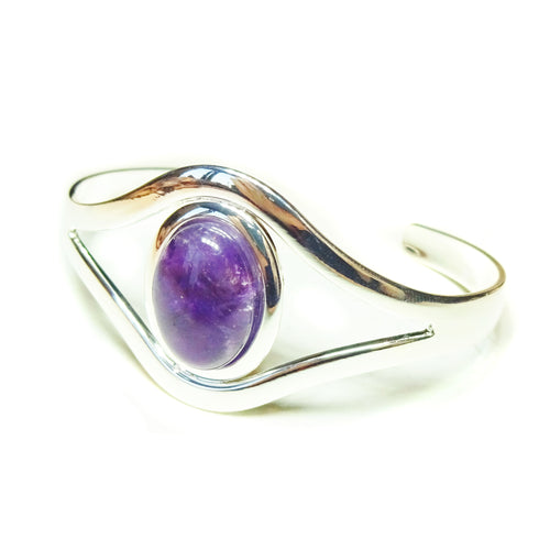 Purple Amethyst Classic Gemstone Silver Plated Bangle
