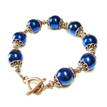 Load image into Gallery viewer, Blue Hematite & Antique Copper Bracelet