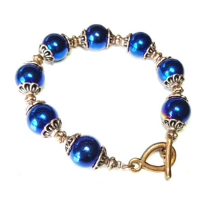 Blue Hematite & Antique Copper Bracelet