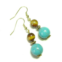 Load image into Gallery viewer, Blue Turquoise, Brown Tiger's Eye & Antique Gold-Tone Gemstone Earrings