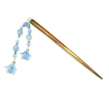 Load image into Gallery viewer, Brown Wood Hair Stick w Blue Quartz & Lucite Flowers