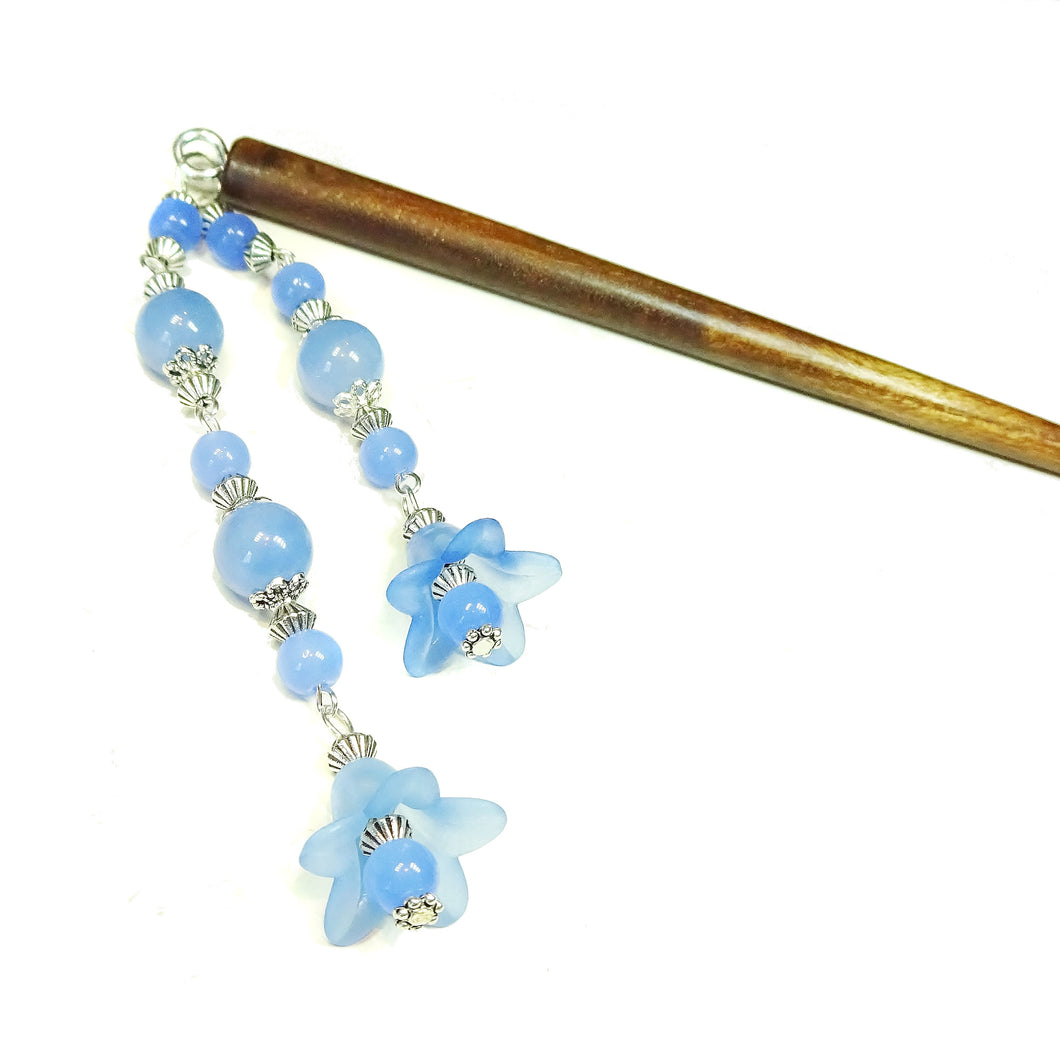 Brown Wood Hair Stick w Blue Quartz & Lucite Flowers