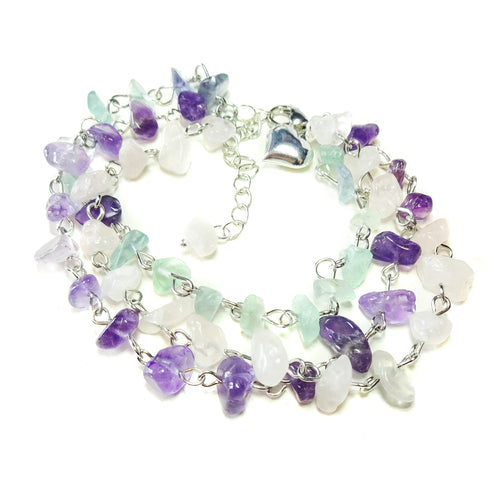 Rose Quartz, Amethyst and Green Aventurine Gemstone Bracelet