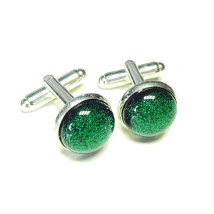 Forest Green Handmade Dichroic Fused Glass Cufflinks
