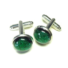 Load image into Gallery viewer, Forest Green Handmade Dichroic Fused Glass Cufflinks