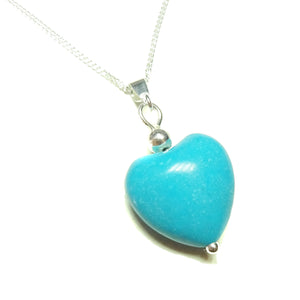 Blue Gemstone Turquoise Heart & Sterling Silver Pendant