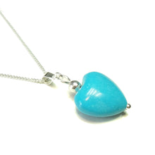 Load image into Gallery viewer, Blue Gemstone Turquoise Heart & Sterling Silver Pendant