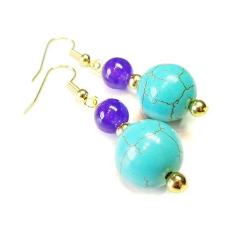Blue Turquoise, Purple Quartz Gemstone & Gold Plated Drop Earrings