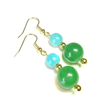 Load image into Gallery viewer, Green Aventurine, Blue Turquoise Gemstone & Gold Plated Drop Earrings