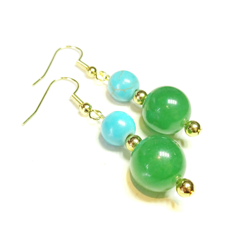 Green Aventurine, Blue Turquoise Gemstone & Gold Plated Drop Earrings