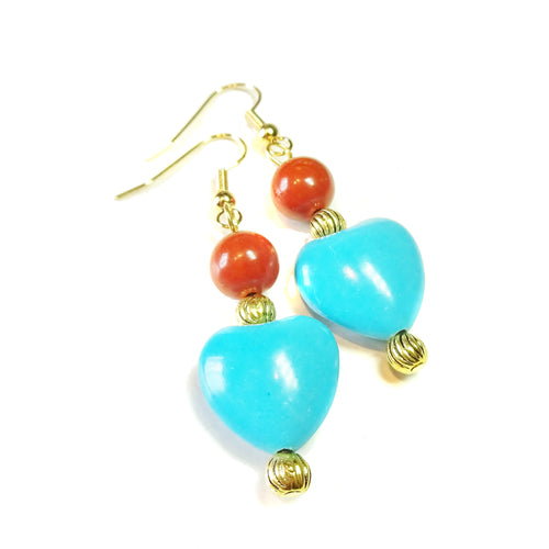 Blue Turquoise, Red Jasper Gemstone & Gold Plated Heart Earrings
