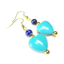 Load image into Gallery viewer, Blue Turquoise, Lapis Lazuli Gemstone & Gold Plated Heart Earrings