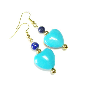 Blue Turquoise, Lapis Lazuli Gemstone & Gold Plated Heart Earrings