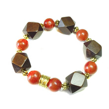 Load image into Gallery viewer, Geometric Brown Wood, Red Coral & Antique Gold Stretch Bracelet 20.5cm