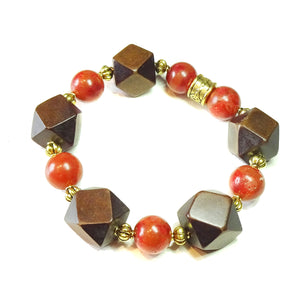 Geometric Brown Wood, Red Coral & Antique Gold Stretch Bracelet 20.5cm