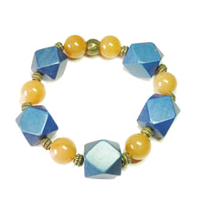 Load image into Gallery viewer, Geometric Blue Wood, Orange Aventurine & Antique Brass Stretch Bracelet 20.5cm