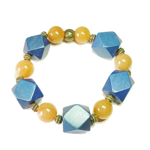 Geometric Blue Wood, Orange Aventurine & Antique Brass Stretch Bracelet 20.5cm