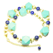 Load image into Gallery viewer, Chunky Geometric Sea Blue Wood, Cream & Lapis Lazuli Gemstone Necklace