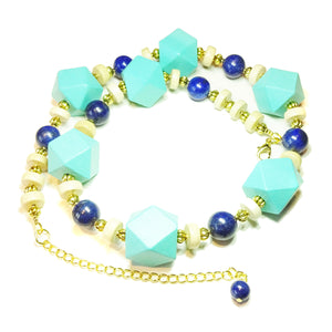 Chunky Geometric Sea Blue Wood, Cream & Lapis Lazuli Gemstone Necklace