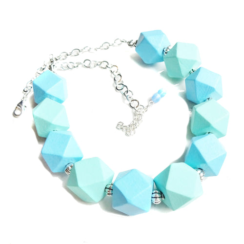 Sea Blue & Green Chunky Geometric Wood Necklace