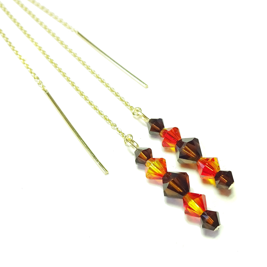 Brown, Orange Swarovski Crystal & Gold Vermeil Long Drop Ear Threads 177mm