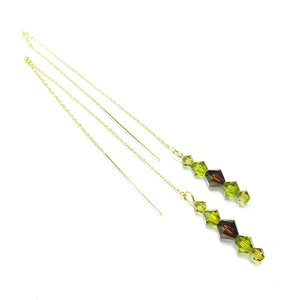 Brown, Olive Green Swarovski Crystal & Gold Vermeil Long Drop Ear Threads 177mm
