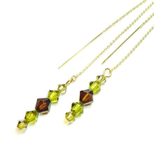 Load image into Gallery viewer, Brown, Olive Green Swarovski Crystal & Gold Vermeil Long Drop Ear Threads 177mm