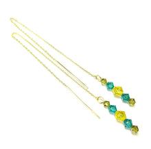 Load image into Gallery viewer, Aqua Blue, Yellow, Olive Green Swarovski Crystal & Gold Vermeil Long Drop Ear Threads 177mm