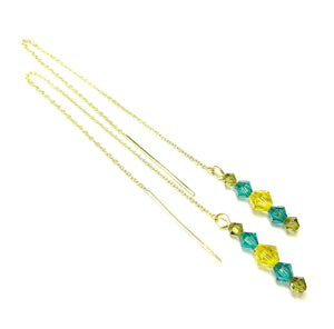 Aqua Blue, Yellow, Olive Green Swarovski Crystal & Gold Vermeil Long Drop Ear Threads 177mm