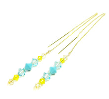 Load image into Gallery viewer, Aqua Blue, Yellow Swarovski Crystal & Gold Vermeil Long Drop Ear Threads 189mm