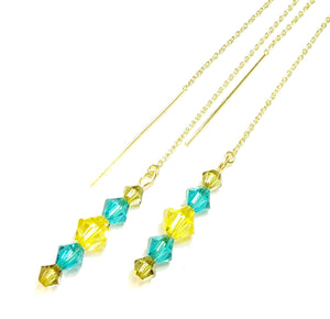 Aqua Blue, Yellow Swarovski Crystal & Gold Vermeil Long Drop Ear Threads 189mm