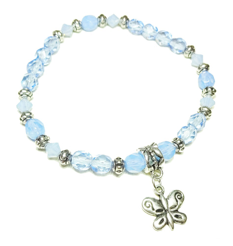 Pale Blue Crystal Stretch Bracelet - 19.5cm