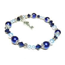 Load image into Gallery viewer, Pale Blue & Colbalt Swarovski Pearl & Crystal Stretch Bracelet - 20cm