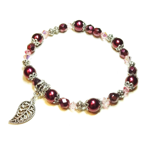Raspberry Red Swarovski Pearl & Crystal Stretch Bracelet - 20cm