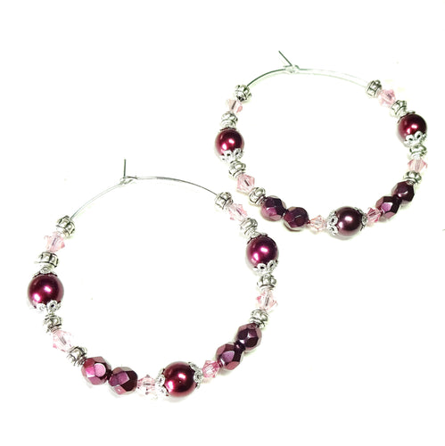 Large Raspberry Red Pearl & Swarovski Crystal Hoop Earrings 50mm